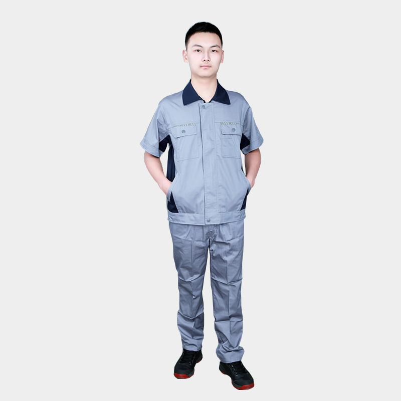 夏季纯棉短袖工作服套装男士薄款劳保服耐磨汽修厂服工装上衣定制