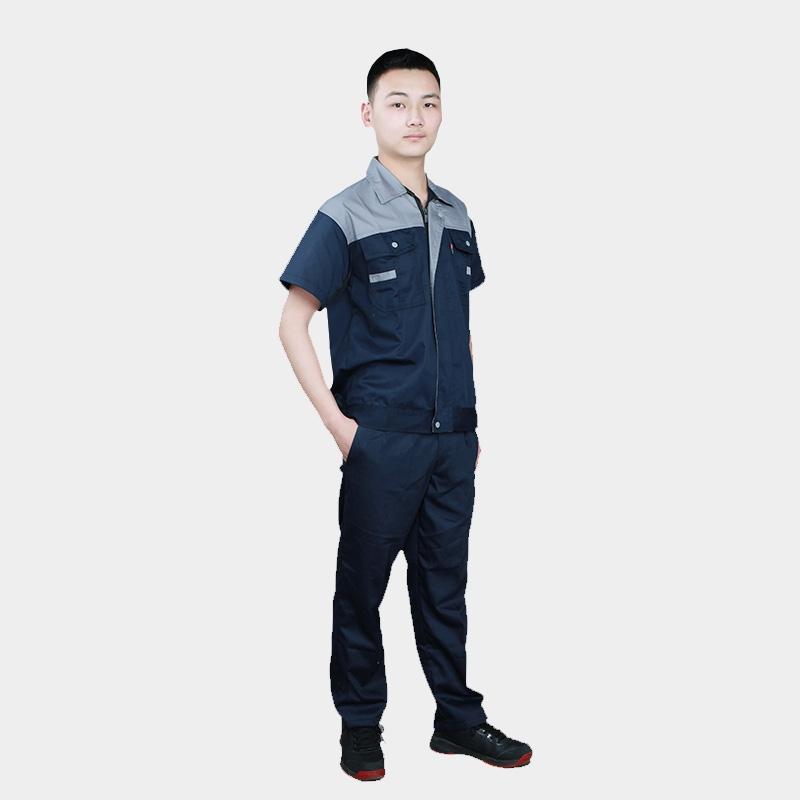夏季短袖工作服套装男士薄款耐磨汽修修车劳保服工厂车间厂服上衣