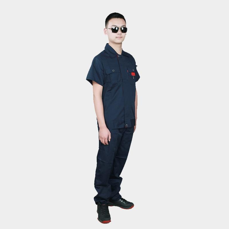 夏季工作服短袖套装男定制车间劳保服汽修工地上衣工程服夏装薄款